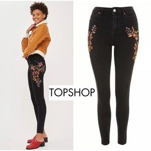 Topshop Moto Jamie Embroidered High Black Skinny